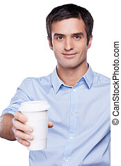 Sharing coffee with you. Handsome young man in blue shirt...