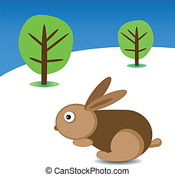 Easter rabbit and trees in the background