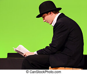 Teen Boy in Period Clothing - A boy as a character in a play...