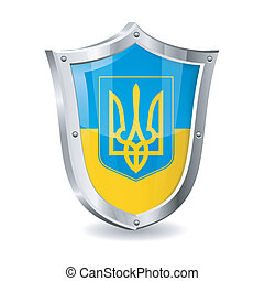 Ukraine - Coat of Arms Ukraine on Shield, vector isolated on...