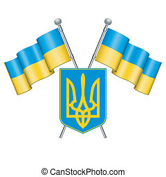 Ukraine - Flag and Coat of Arms Ukraine, vector isolated on...