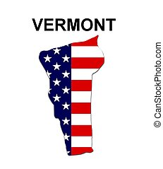 USA state of Vermont in stars and stripes design