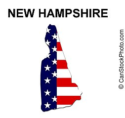 USA state of New Hampshire in stars and stripes design