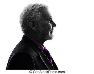 senior business man silhouette - One Caucasian Senior...