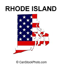 USA state of Rhode Island in stars and stripes design
