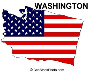 USA state of Washington in stars and stripes design