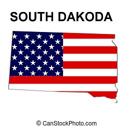 USA state of South Dakota in stars and stripes design