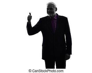 senior business man Thumb Up silhouette