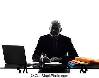 senior business man busy working  silhouette