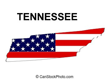 USA state of Tennessee in stars and stripes design