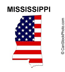 USA state of Missisippi in stars and stripes design
