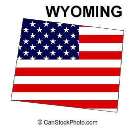 USA state of Wyoming in stars and stripes design