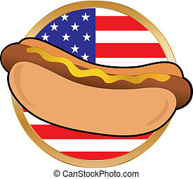 Hot Dog American Flag - A hot dog with mustard with an...
