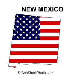 USA state of New Mexico in stars and stripes design