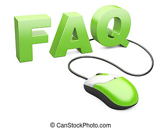 computer mouse connected to the word FAQ - internet concept