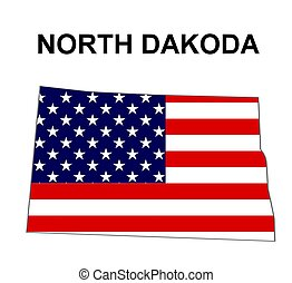 USA state of North Dakota in stars and stripes design