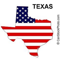 USA state of Texas in stars and stripes design