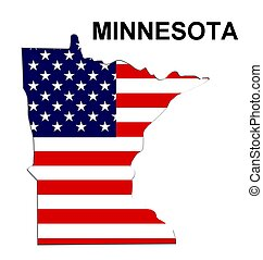 USA state of Minnesota in stars and stripes design