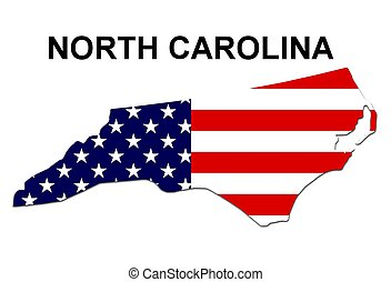 USA state of North Carolina in stars and stripes design