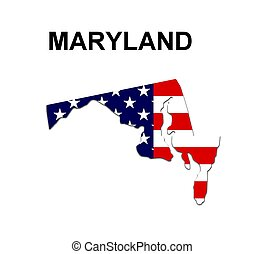 USA state of Maryland in stars and stripes design