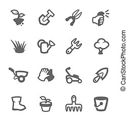 Gardening icons - Simple set of Garden tools related vector...