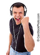 hadsome man with headphones showing success - handsome man...