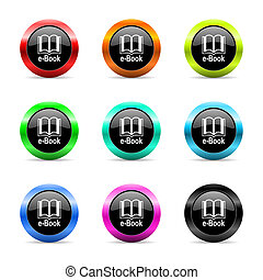 book web icons set - web buttons set on white background