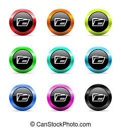 folder web icons set - web buttons set on white background