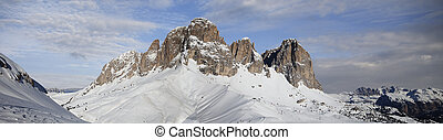 Dolomites in Val di Fassa - Panoramic view of Dolomites in...