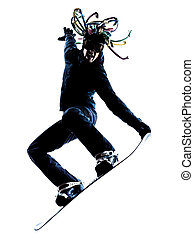young snowboarder man silhouette