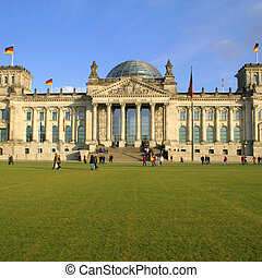 reichtag - wide view angle of the reichstag building,...
