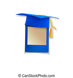 Mortar board or graduation cap with paper leaf isolated on...