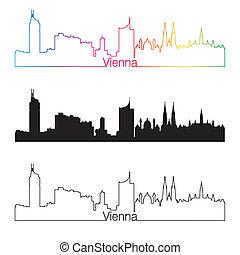 Vienna skyline linear style with rainbow in editable vector...