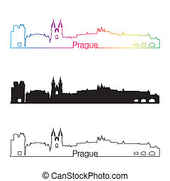 Prague skyline linear style with rainbow in editable vector...