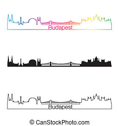 Budapest skyline linear style with rainbow in editable...