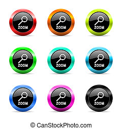 zoom web icons set - web buttons set on white background