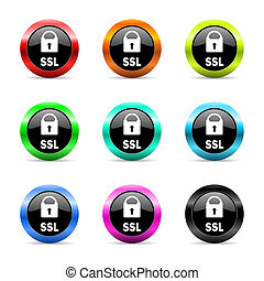 ssl web icons set - web buttons set on white background