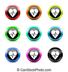 pulse web icons set - web buttons set on white background