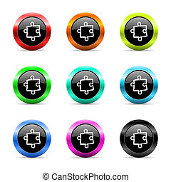 puzzle web icons set - web buttons set on white background