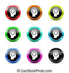 head web icons set - web buttons set on white background