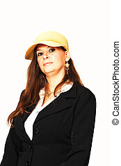 Woman with yellow hat.