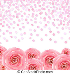 Pink Rose With Confetti, With Gradient Mesh, Vector...