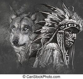 Wolf illustration Tattoo design over grey background...