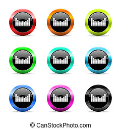 sound web icons set - web buttons set on white background