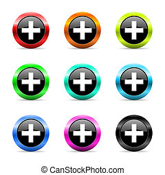 plus web icons set - web buttons set on white background