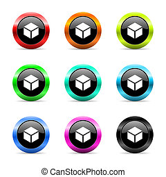 box web icons set - web buttons set on white background