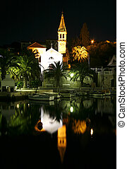 night shot - Night shot of the church and harbour of...