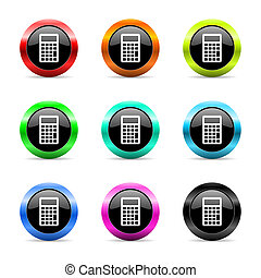 calculator web icons set - web buttons set on white...