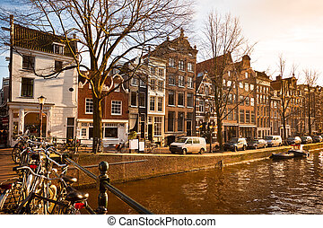 Amsterdam Canal Street view at winter Horizontal shot