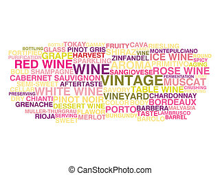 Types of wine Word cloud concept